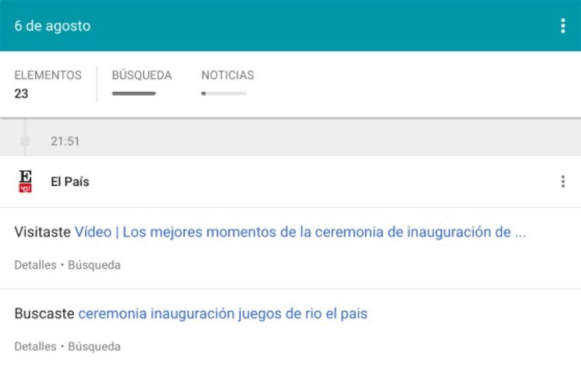 google las paginas y aplicaciones que visitas