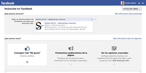 Opciones de Anuncios en Facebook