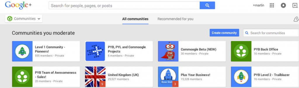 Google Communities list