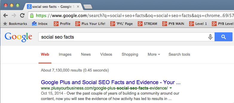 Social SEO Facts incognito result in Search