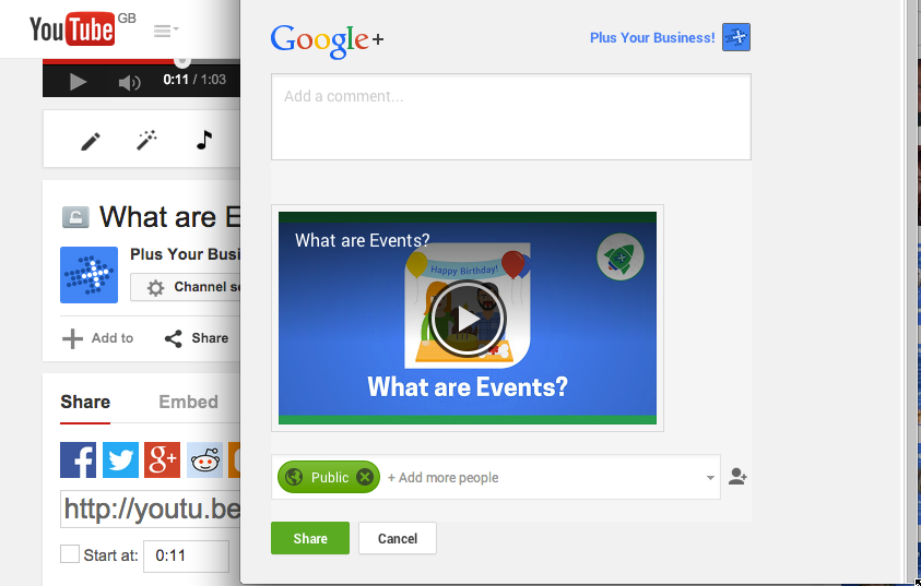 Youtube and Google share box