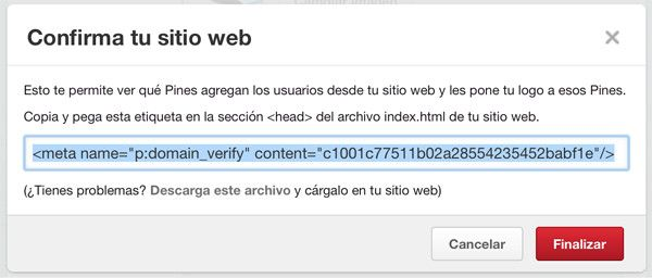 meta etiqueta sitio web pinterest